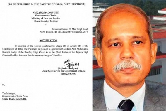 Centre Notifies appointment of Justice Kureshi as Tripura HC Chief Justice