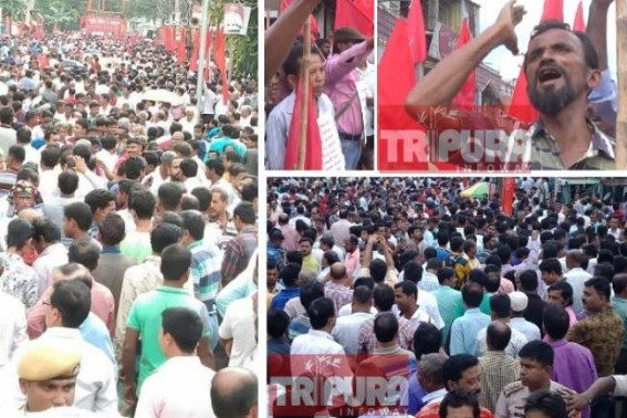 Public outrage against BJP Govt blasts through CPI-M massive rally, Red waves flooded Streets : Farmers' protest paralyzed state's capital city amid massive threats of ruling BJP, Agartala city remained immobilized whole-day