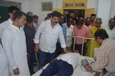 Health Minister Sudip Barman attending a blood donation camp. TIWN Pic April 22