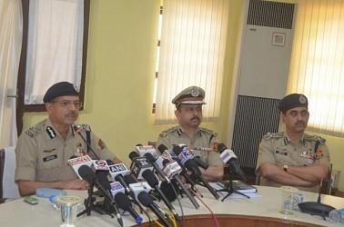 DGP A K Shukla addressing media at Tripura Police HQ. TIWN Pic April 22