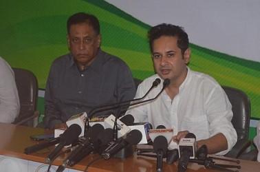 Pradyot Manikya addressing media at Congress HQ. TIWN Pic April 23
