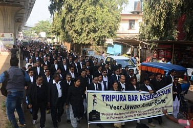 Tripura Bar Association held condemnation rally against Pulwama attack at Agartala. TIWN Pic Feb 18