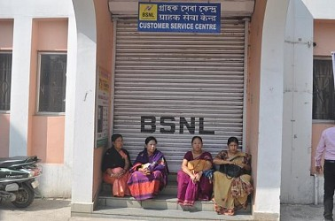 BSNL Strike at Agartala. TIWN Pic Feb 18