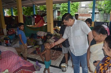 MLA Sudip Barman visited relief camps on the outskirts of Agartala. TIWN Pic July 15