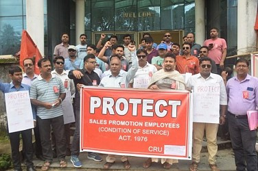 CRU protesting at Agartala. TIWN Pic Aug 17