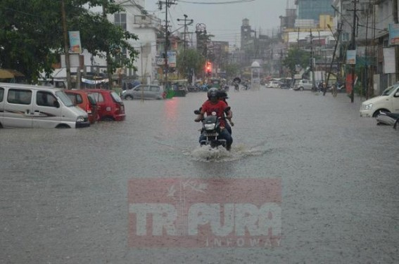 Rain, water-logging disrupt public lives in Agartala