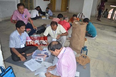 Polling personnel left for their polling stations. TIWN Pic Sep 22