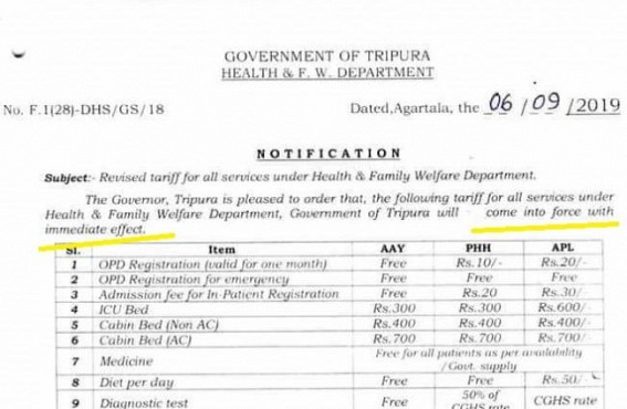 Error-Full Draft of Tripura Health Dept committed Historical-Error by typing 'Come into force with immediate affect'