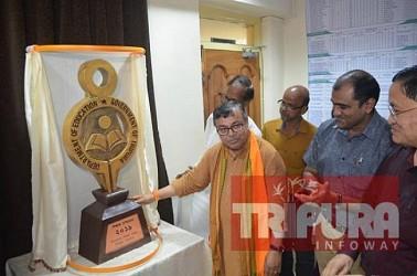 Education Minister Ratanlal Nath unveils logo for Tripura Education Dept. TIWN Pic Aug 17