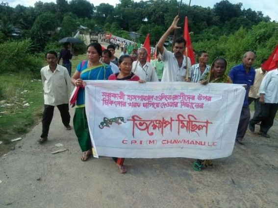 Protest at Longtarai Valley against scraping of Free Medical Service