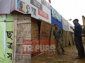 Book Stall of SFI vandalized at Agartala Book Fair. TIWN Pic Feb 17