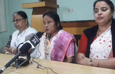 MP Jharna Das addressing media at Agartala. TIWN Pic Feb 18