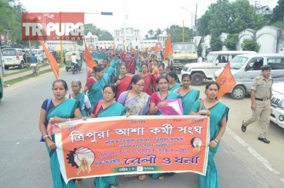 Over 8,000 Asha workers in Tripura wrote to PM Modi for wage hikes, protest staged at Agartala