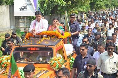 Tripura CM Biplab Deb campaigned for BJP candidate Mimi Majumder. TIWN Pic Sep 20