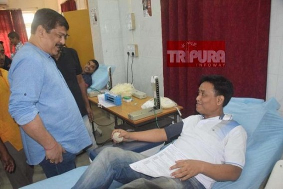 Terminated Health Minister still concern about Health issues, organized massive Blood Donation camp to rescue emergency patients