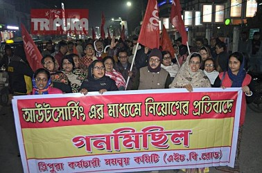 A protest rally was marched by Tripura Karmachari Samannoy Samiti. TIWN Pic Jan 27