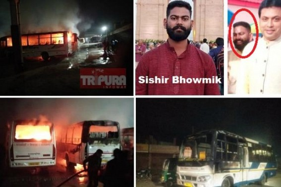 After BJP's massive defeat in Delhi , BJP goons torched 6 buses in Udaipur in midnight, destroyed crores of Public properties : Police failed to arrest criminals, Ward No. 10 Councilor Sishir Bhowmik