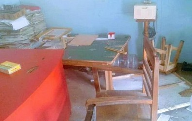 CPI-M's party office vandalized. TIWN Pic Feb 23
