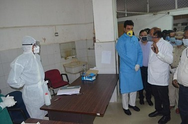 Chief Minister Biplab Deb visited GB hospital, checked managements in hospital. TIWN Pic April 2