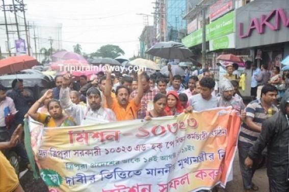 Terminated 10323 teachers slammed Education Minister Ratan Lal's different propagandas as 'untruthful' : 10323 Teachers protests expose pre-Election JUMLA