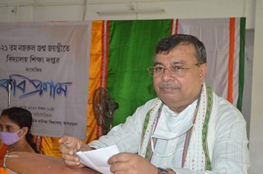 Minister Ratanlal Nath addressing on Nazrul Jayanti. TIWN Pic May 25