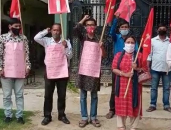 CPI staged protest at Krishnanagar over extreme price hike of fuel items and other essential goods