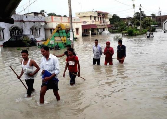 Bihar flood victims left stranded on railway platforms