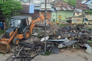 AMC bulldozed houses in Agartala. TIWN Pic Aug 9