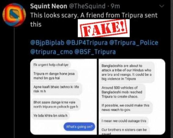 Fake news in Social Media : Tripura Police alerts Netizens