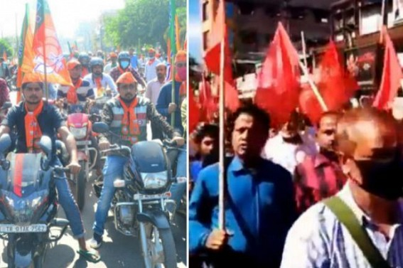 BJP uses full force to flop CPI-M's called Strike Tomorrow : CPI-M continues massive campaigning for successful Strike across State