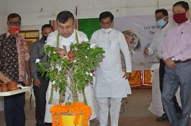 Minister Ratanlal Nath paid tribute to Poet Kazi Nazrul Islam. TIWN Pic May 25