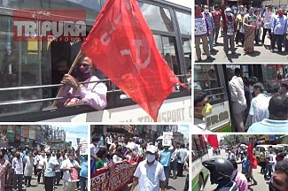 CPI-M's massive protest in Agartala in demand of 'Work', 'Food' for the poor with 'Desh Bachao, BJP Hataao' slogan : Huge Police force deployed to end protest programme, Police Detained Agitators