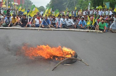 IPFT's Strike in Khumulwng demanding release of arrested party worker. TIWN Pic July 9