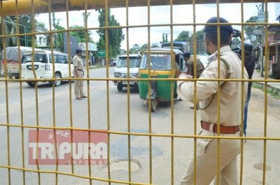 Tripura Observes 'Total Lockdown' statewide on Day 4 : Traffic Police continues thorough Checking of Vehicles, Passers