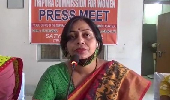 Women Commission Chairperson Barnali Goswami addressing media. TIWN Pic Oct 17