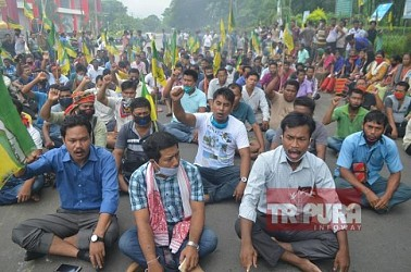 Strike, Protest hit Khumulwng, demanding release of IPFT member. TIWN Pic July 9
