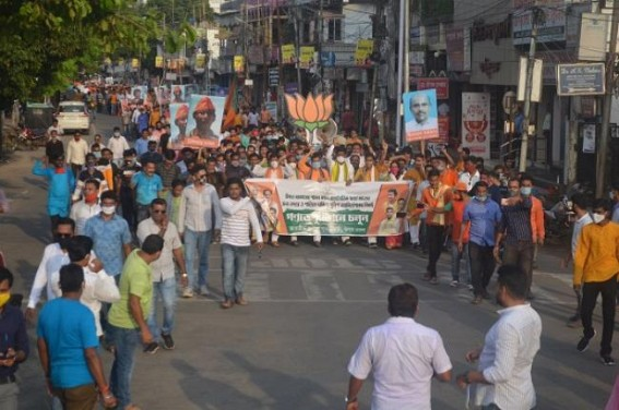 BJP Yuva Morcha rally in Agartala without Social-Distancing amid COVID crisis. TIWN Pic Oct 17