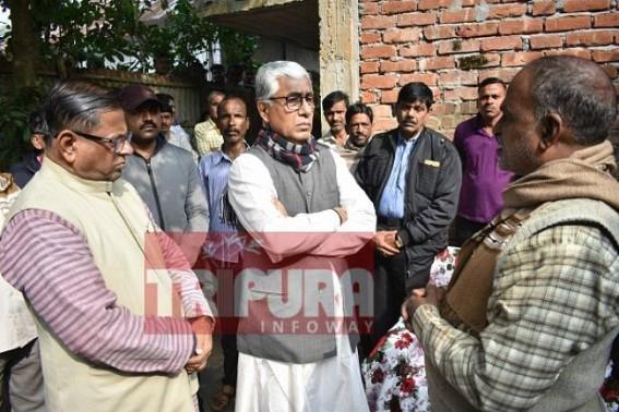 Ex-CM Manik Sarkar visited custodial murder victim Sukanta Ghosh's home. TIWN Pic Jan 13