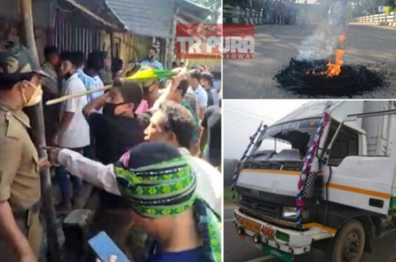 Statewide BJP's ally IPFT's Violence on Strike Day : Biplab Deb's Govt remained mute spectator amid its partner IPFT did open arson