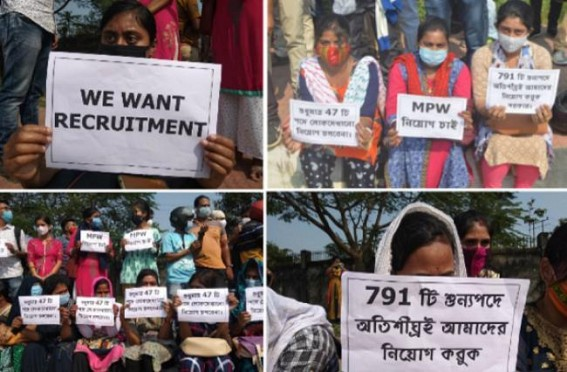 791 MPW Posts remained Vacant in Tripura : Protest staged by Unemployed Job Aspirants Demanding filling up of Vacant Posts