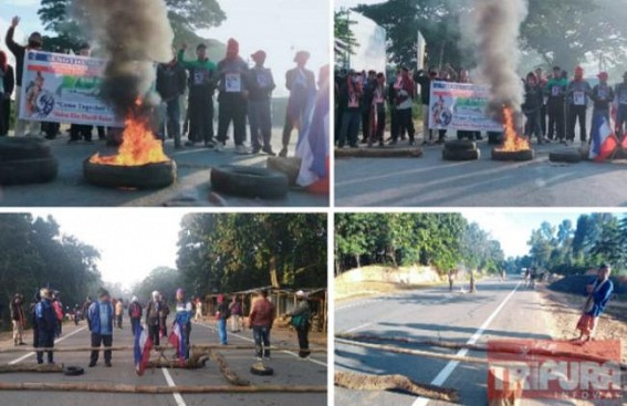 TPF Party Blocks Roads in Demand of Justice for Fireman Late Biswajit Debbarma