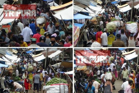 Lockdown : Heavy Crowd was witnessed in Tripura Capital's Gol Bazar market amid State Govt's 'Lockdown' extension till Aug 4, no Authorities visible in enforcing 'Social Distancing'