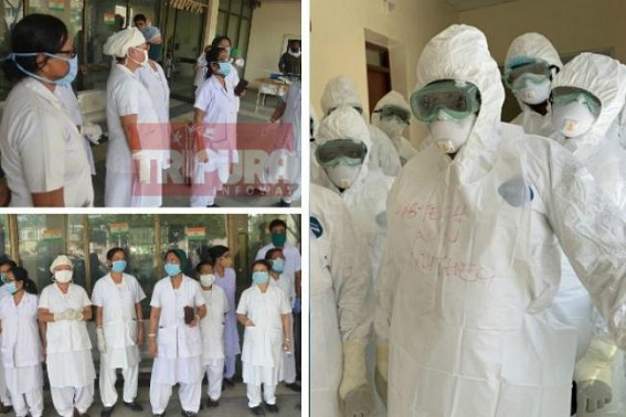 Medical Staffs protest in GB Hospital for PPE raised questions on State Govt's COVID19 Preparedness : Govt assures enough stocks PPE in State, more 2500 PPE to be brought from Guwahati today
