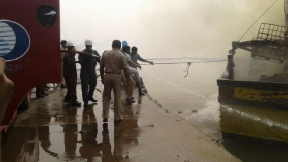 3 injured as fishing boat catches fires in Andhra's Kakinada